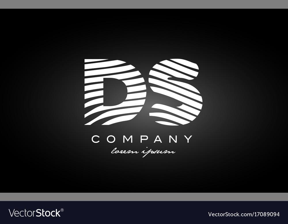 Ds d s letter alphabet logo black white icon