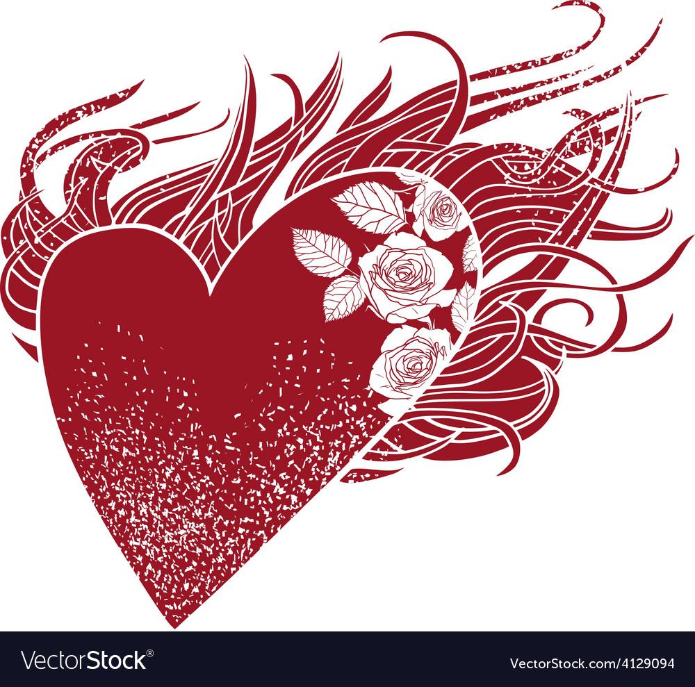 f1bbf4ef76c4 Flaming heart Royalty Free Vector Image - VectorStock