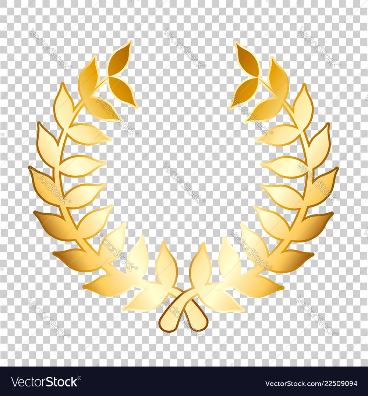 golden laurels on transparent background stock vector image