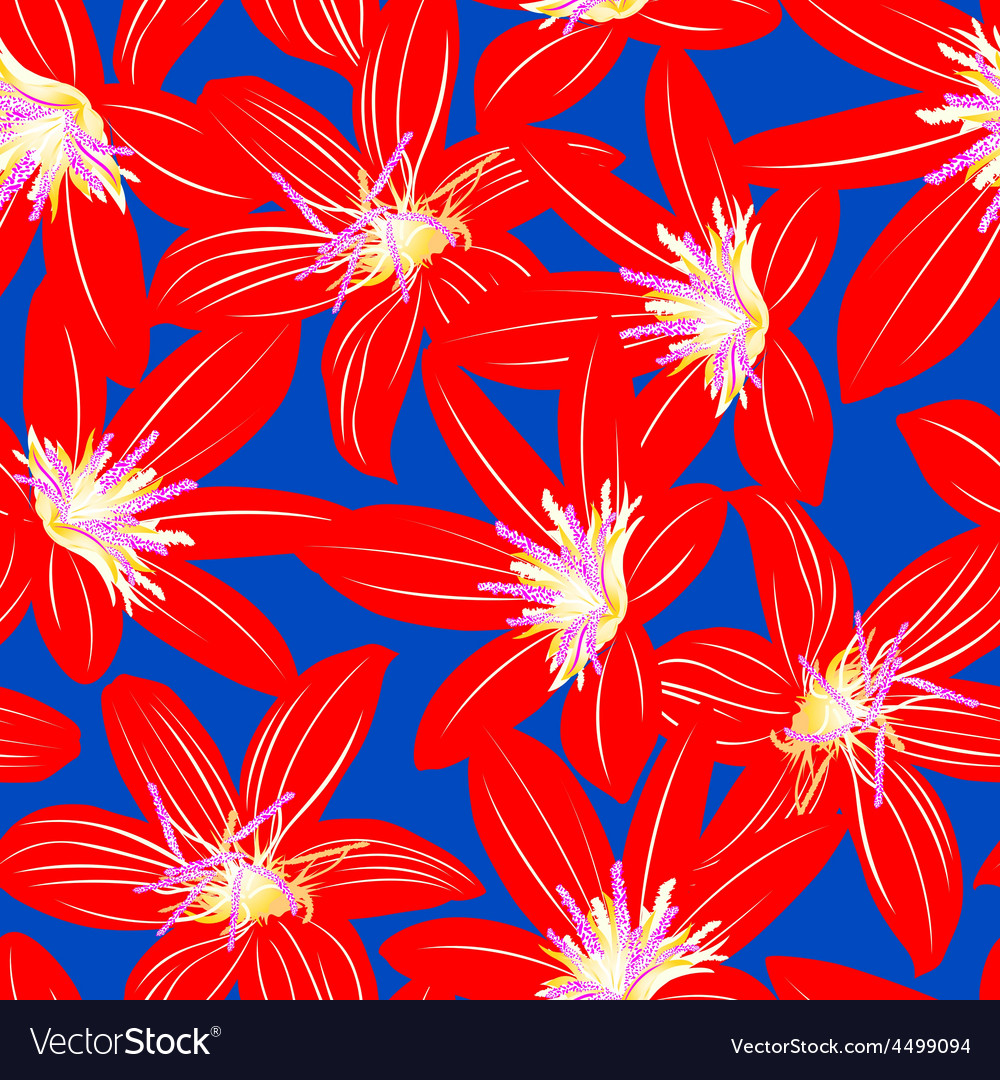 Red Tropical Hibiscus Floral Design Seamless Vector Image