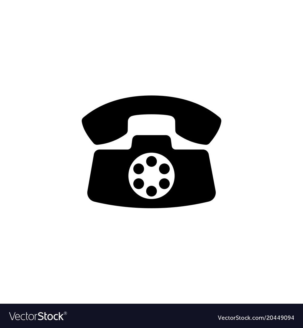 Retro old phone flat icon vector image