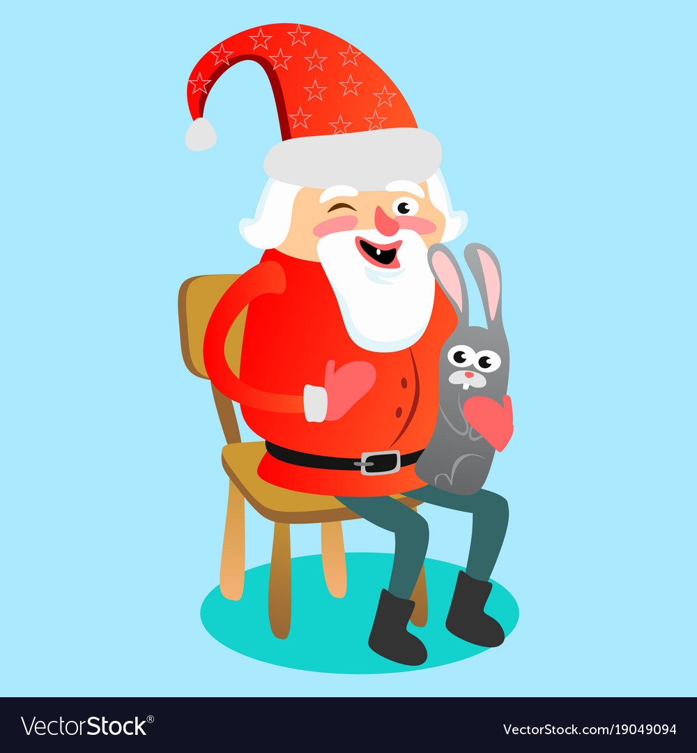 Santa claus in red hat with beard sits on chair