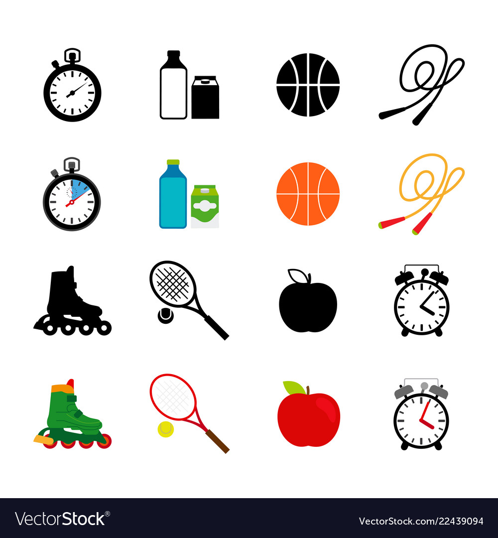 Sport equipment food icons set