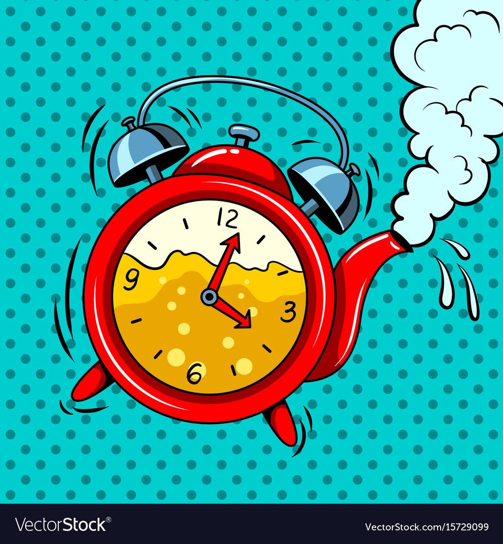 Alarm clock in teapot with tea pop art