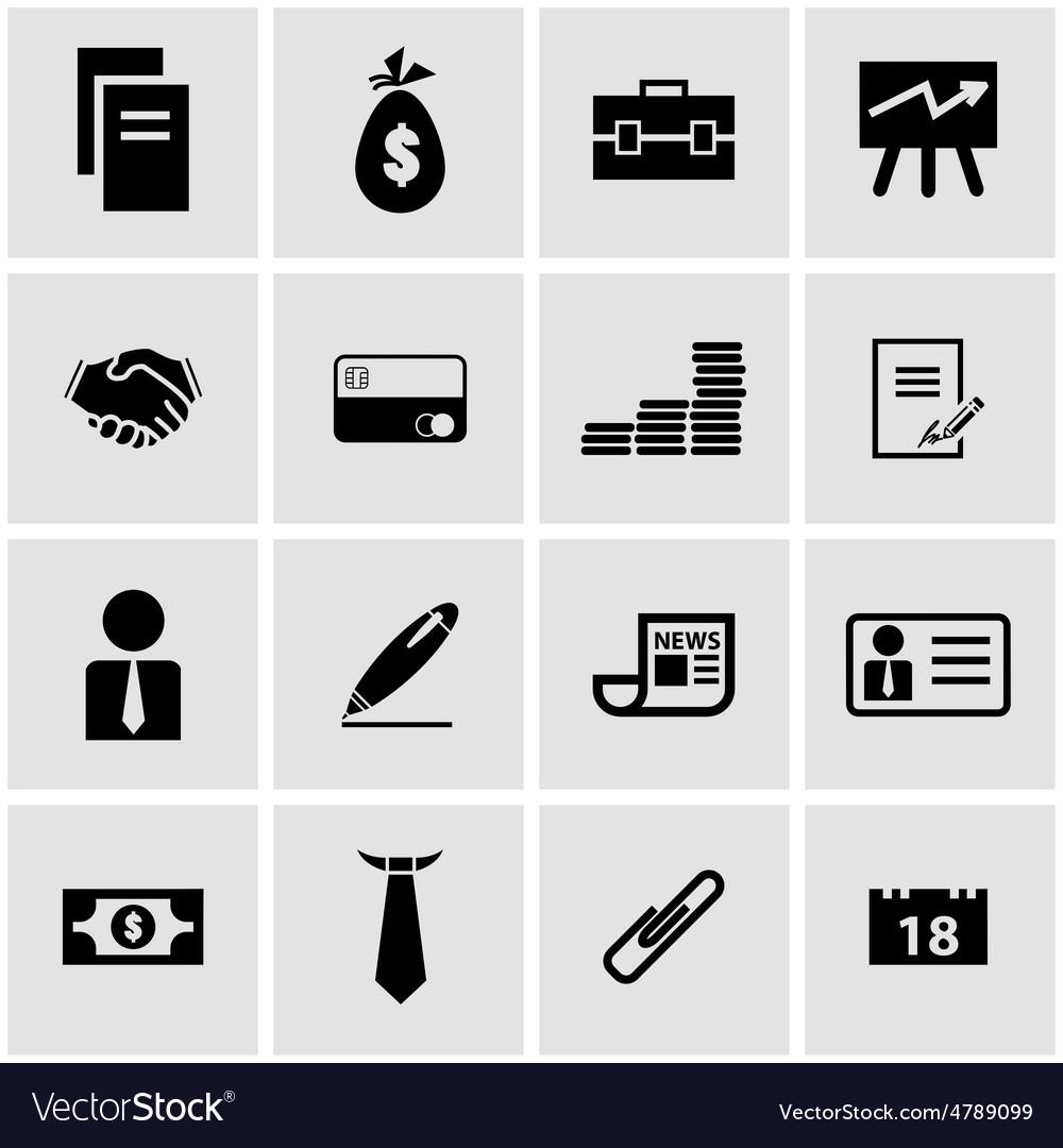 Black business icon set