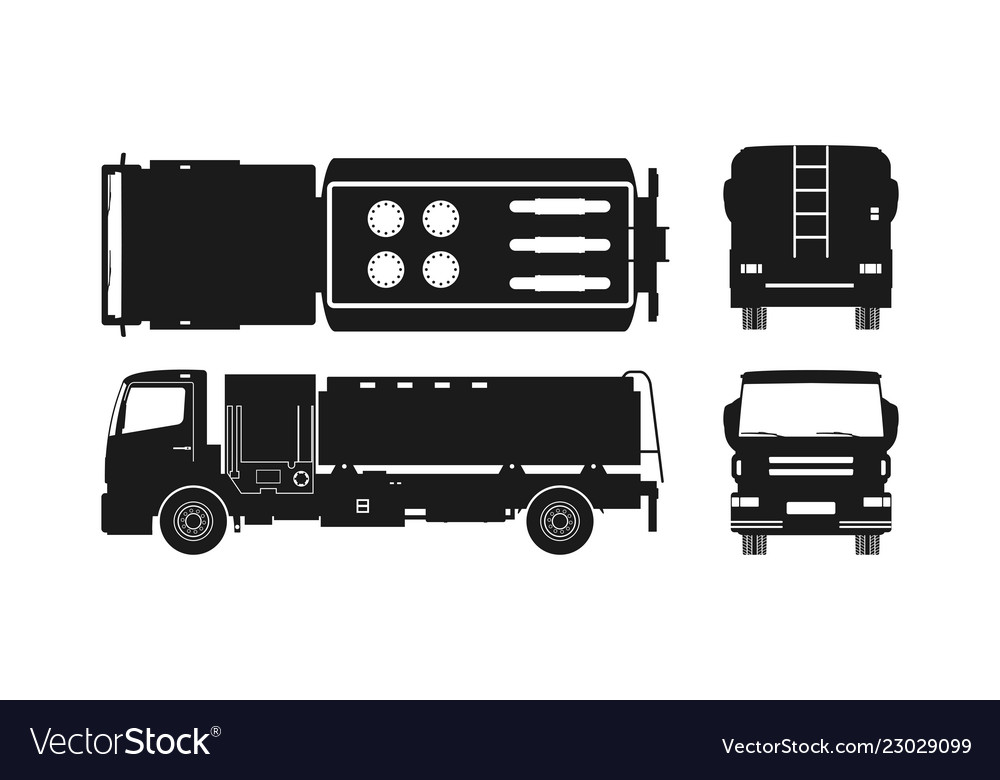 Black silhouette of air fuel truck