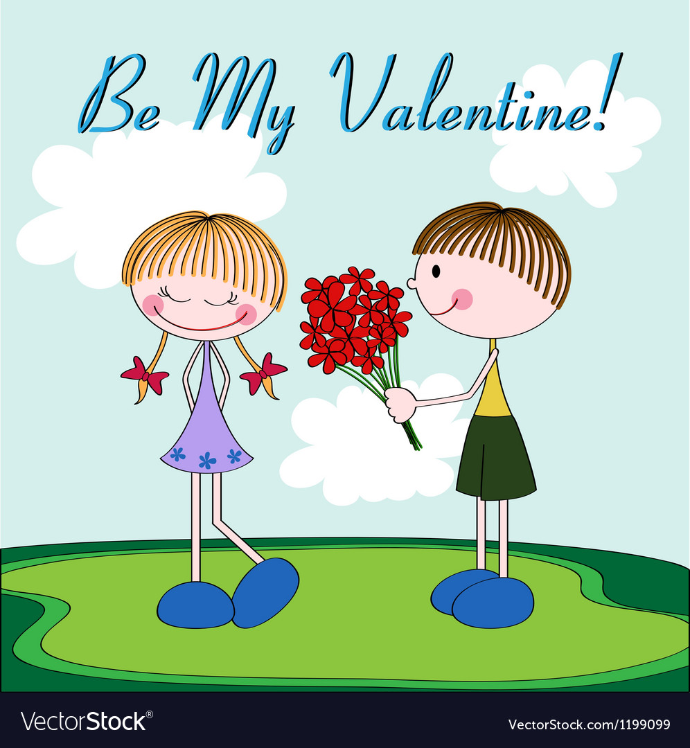 Cartoon Valentine card with girl and boy