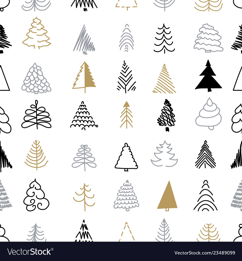 Christmas seamless pattern silver and gold trees