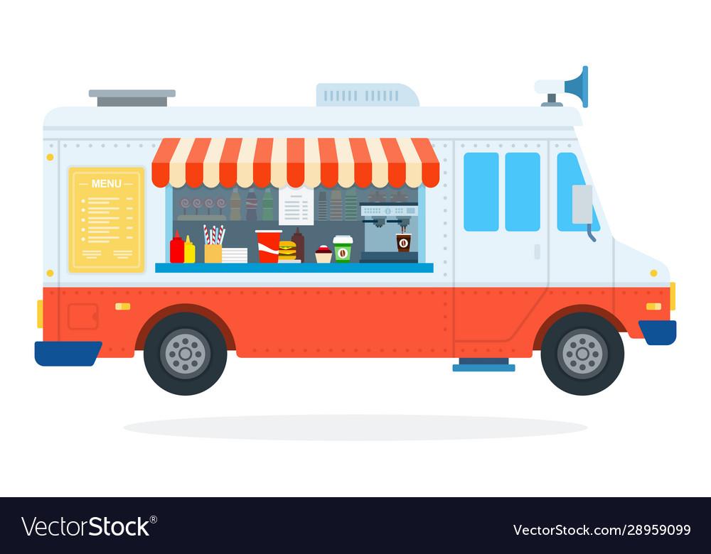 Fast food car flat isolated