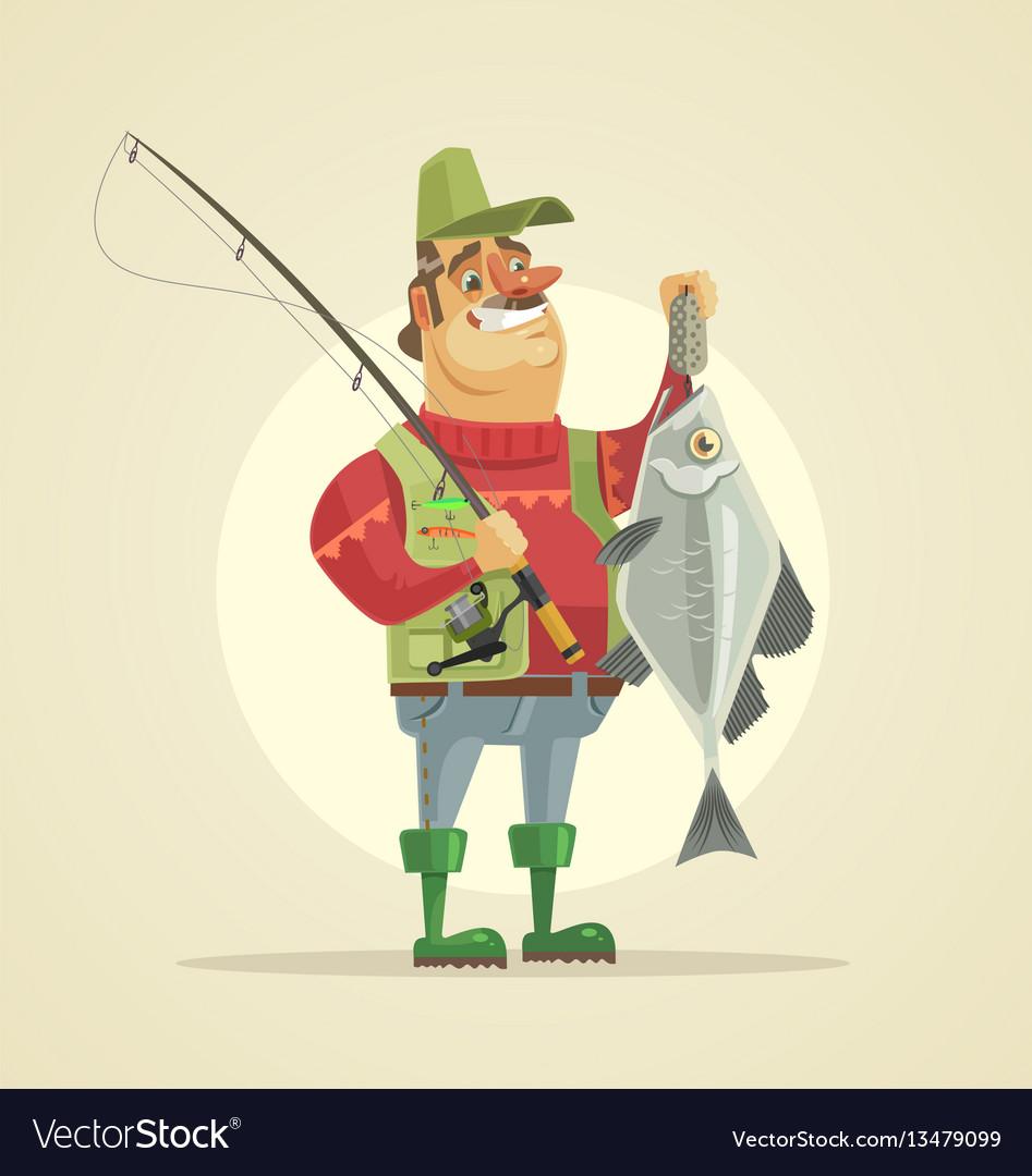 Happy fisherman character hold big fish