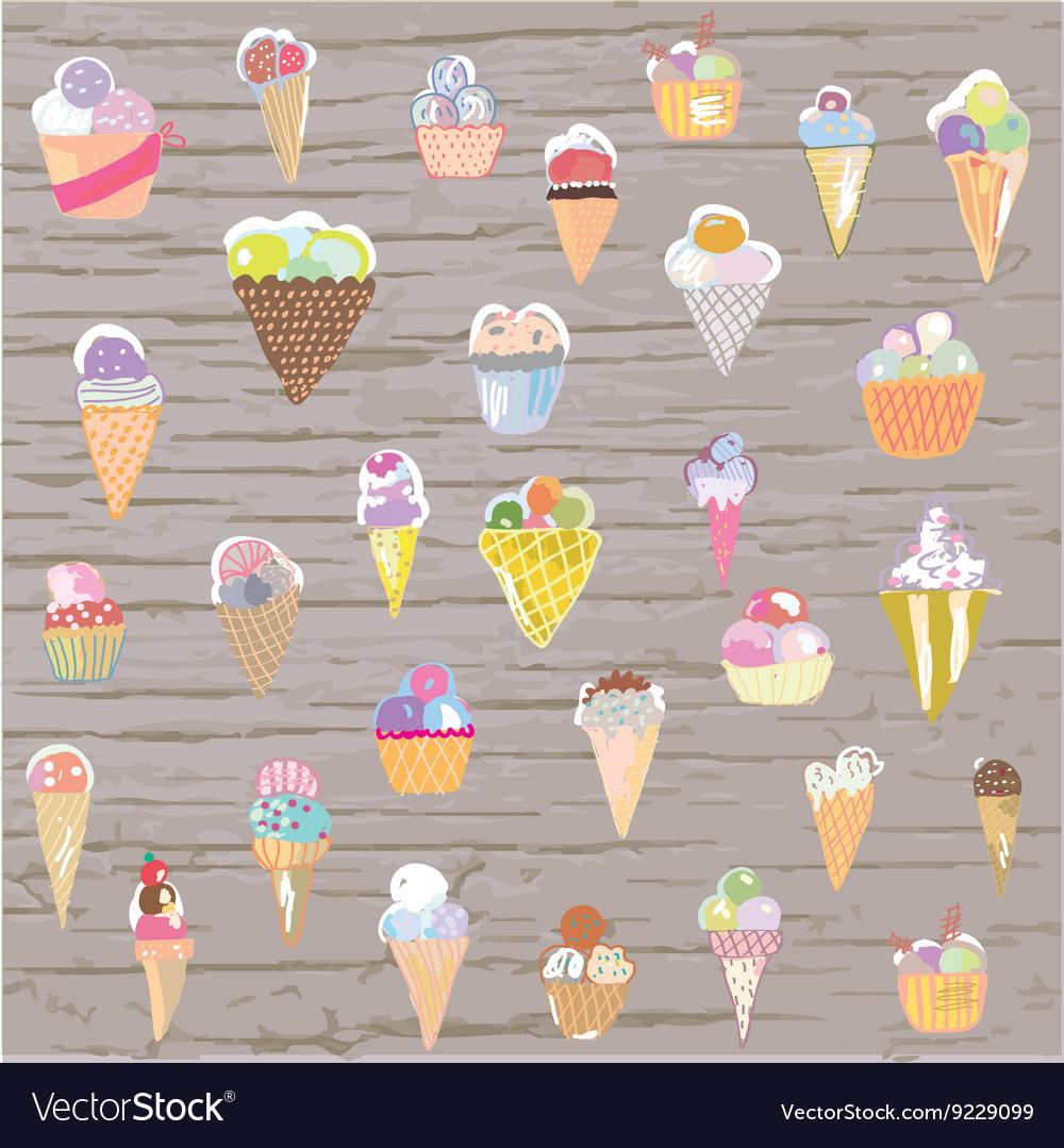Ice cream set - retro style hand drawn