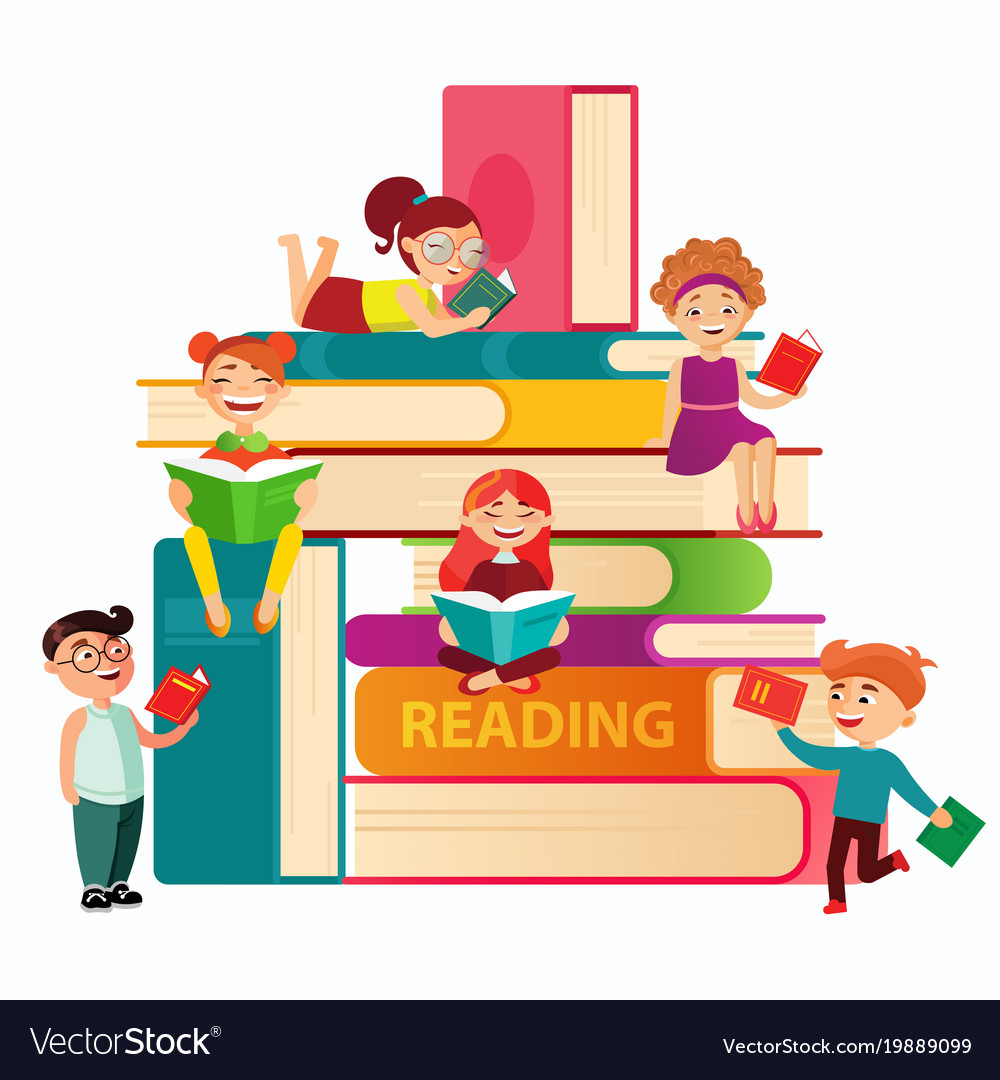 Kids reading on the big stack of books flat Vector Image