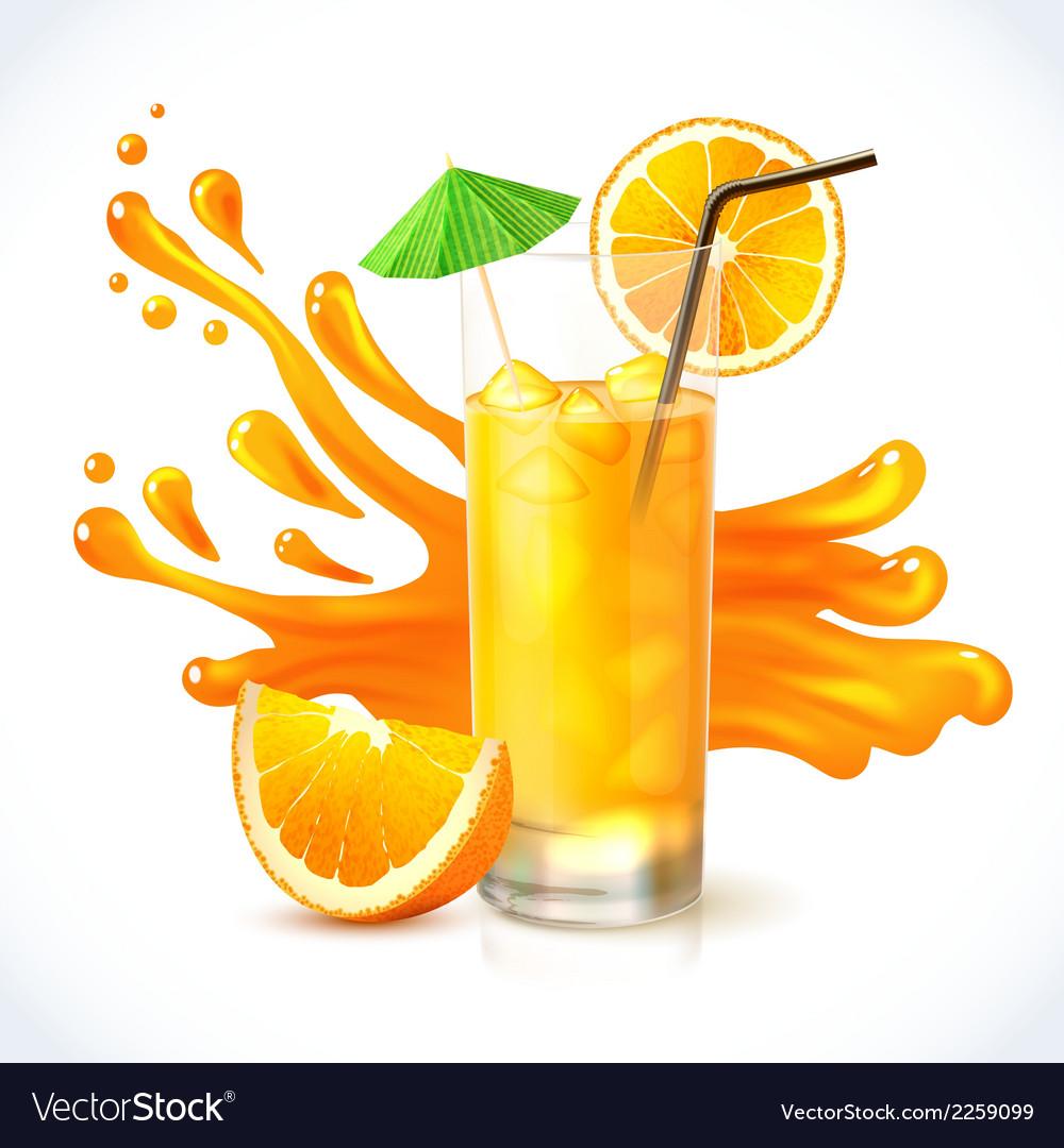 Orange juice ice vector image