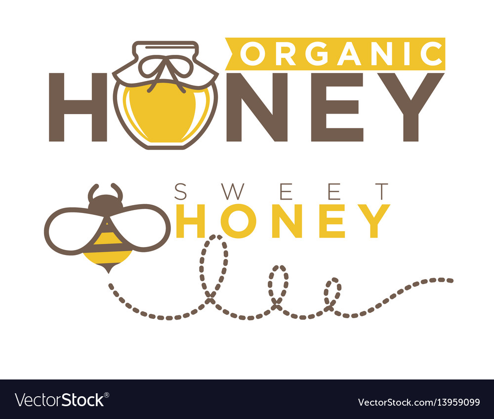 Organic sweet honey logo design in flat style