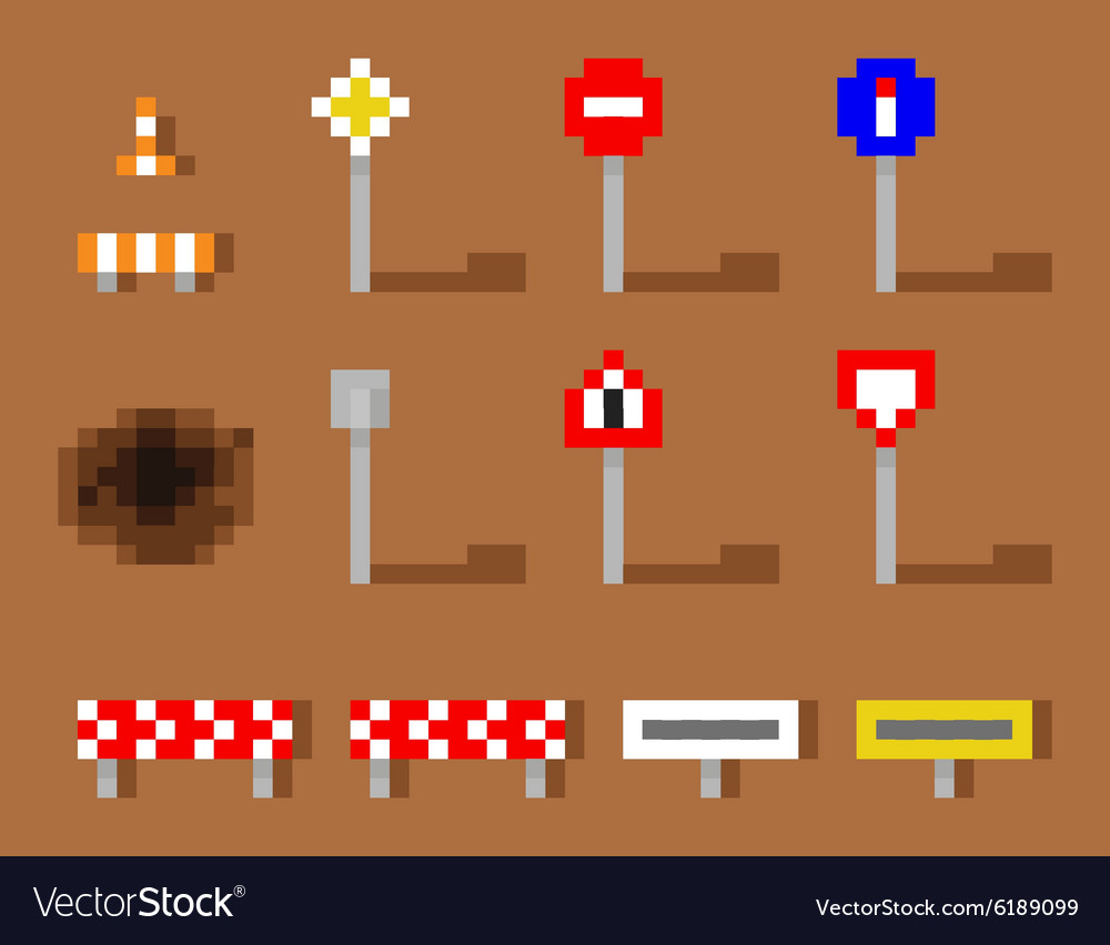 Pixel Art Road Sign Icon set brown road vector image