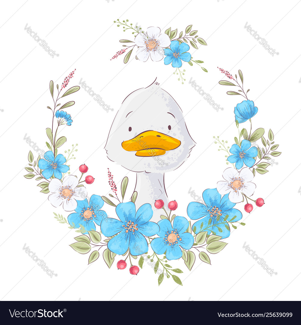 Postcard poster a cute duckling in a wreath of