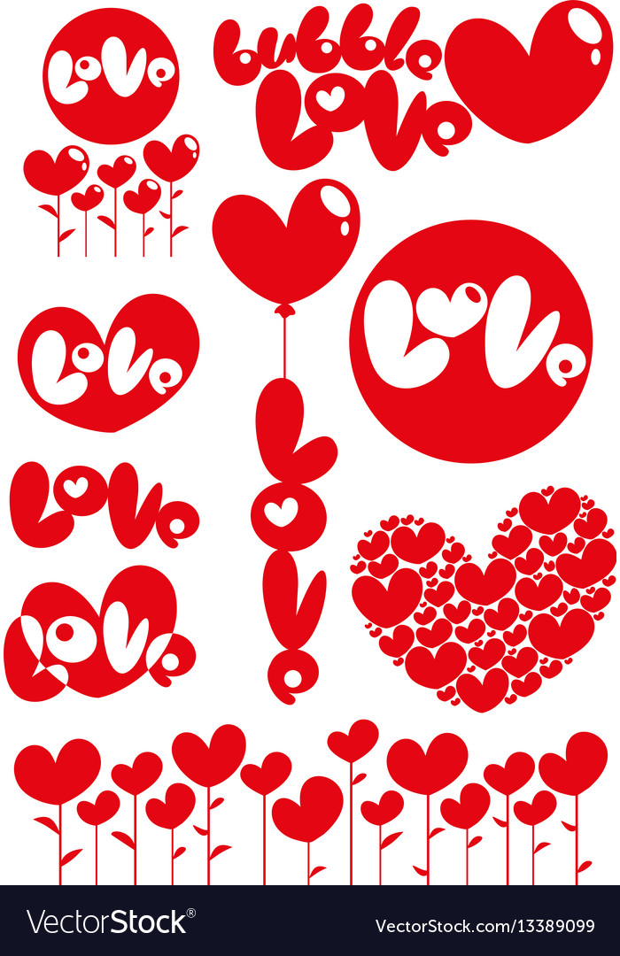 Romantic red love heart elements set