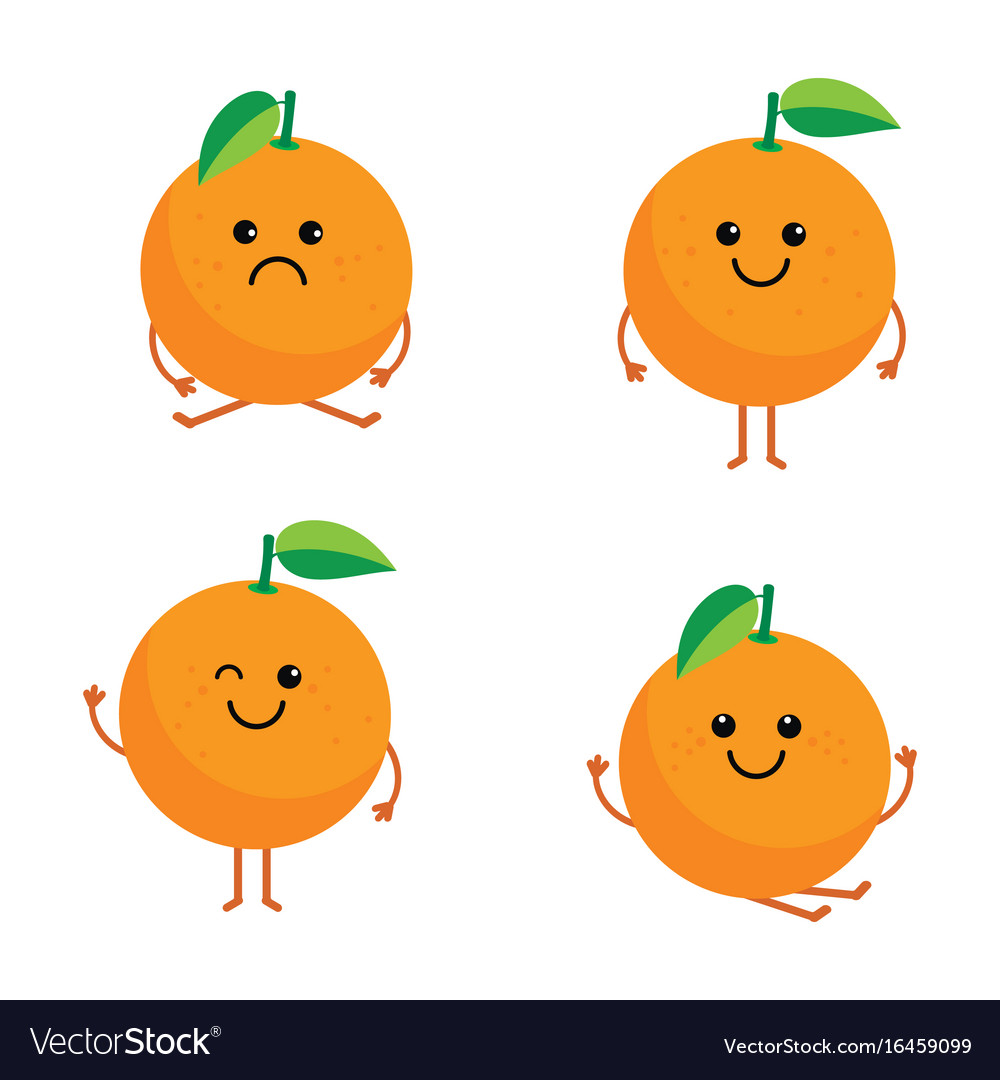 Set Cartoon Oranges Royalty Free Vector Image Vectorstock