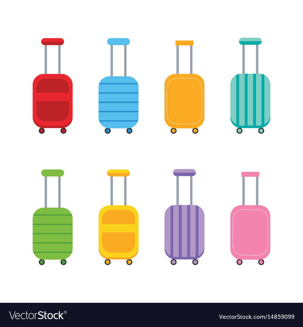 Set collection of colorful luggage suitcases