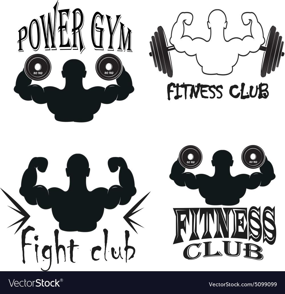 Set of vintage gym emblems