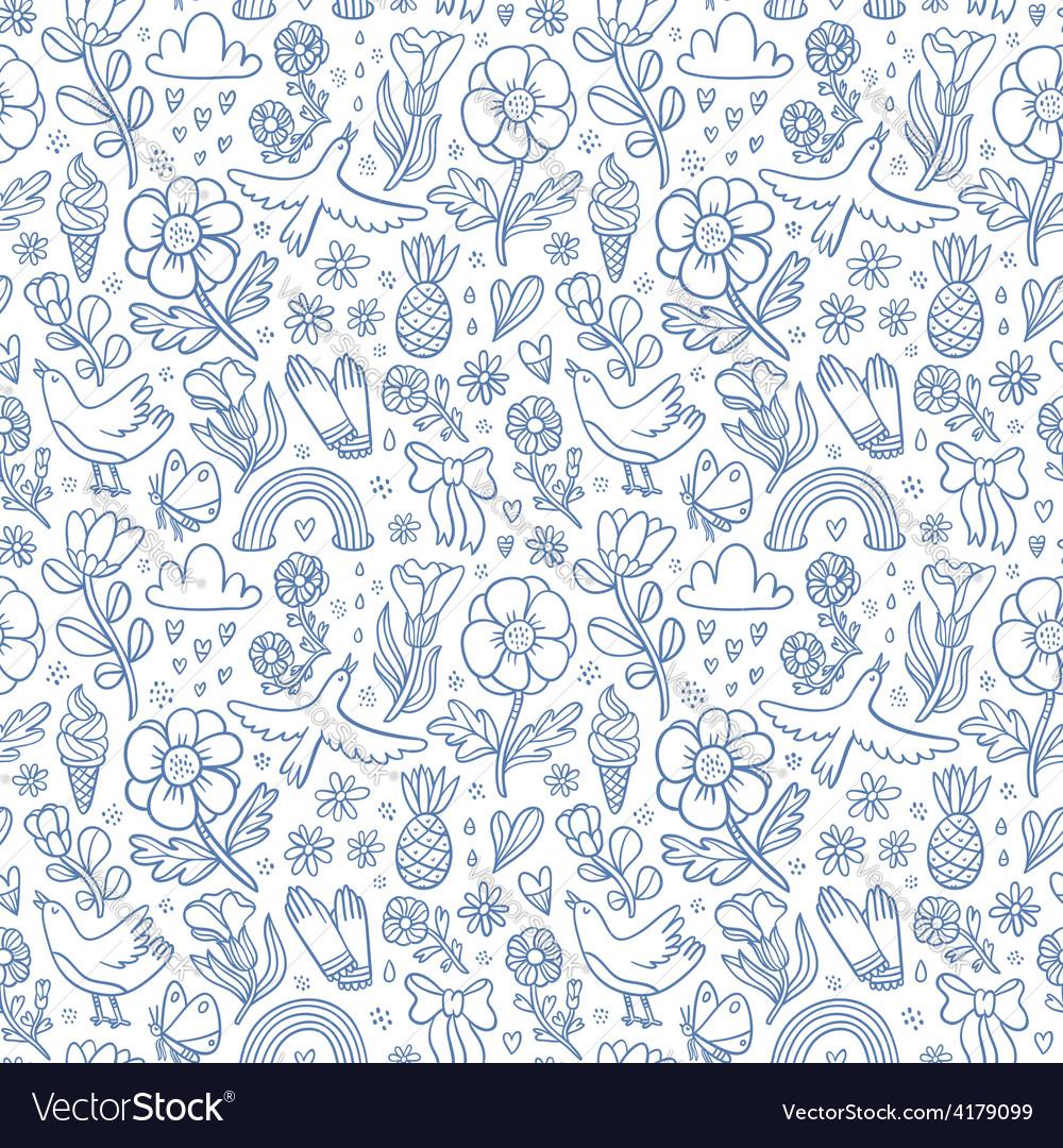 Summertime blue seamless pattern vector image
