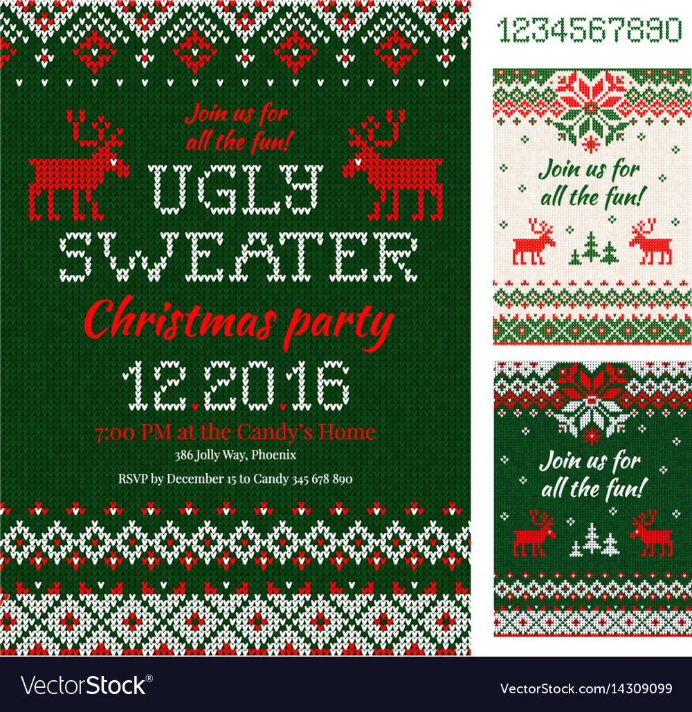 Ugly sweater christmas party cards knitted vector image m4hsunfo