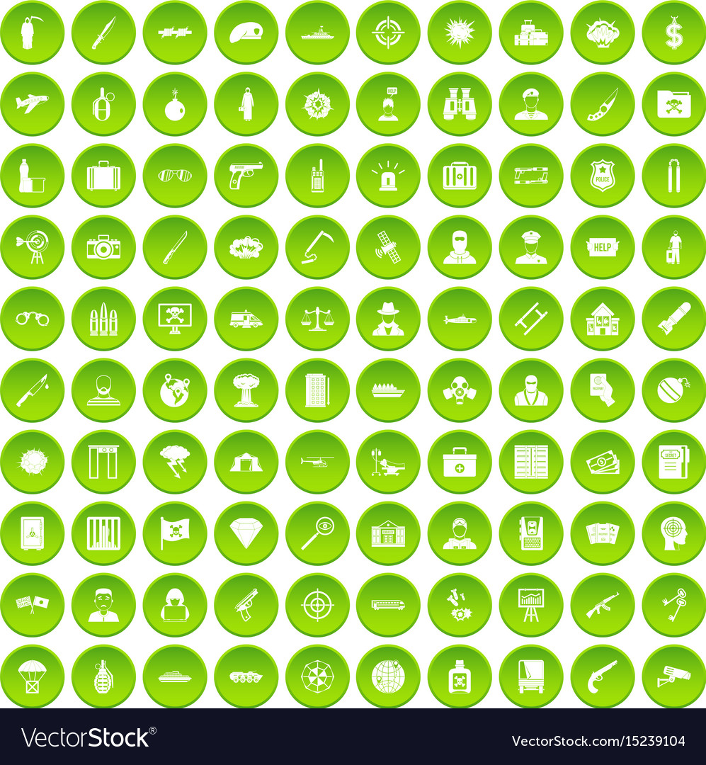 100 antiterrorism icons set green circle vector image