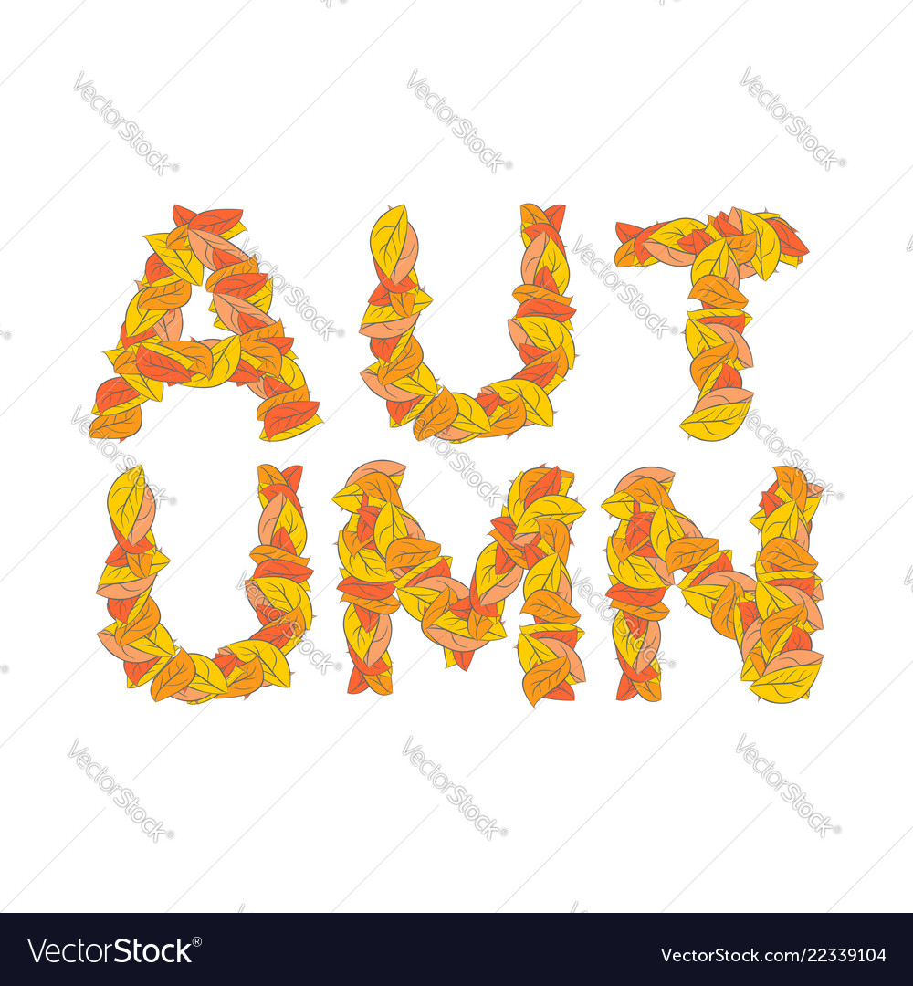 Autumn lettering yellow leaves of abc autumnal
