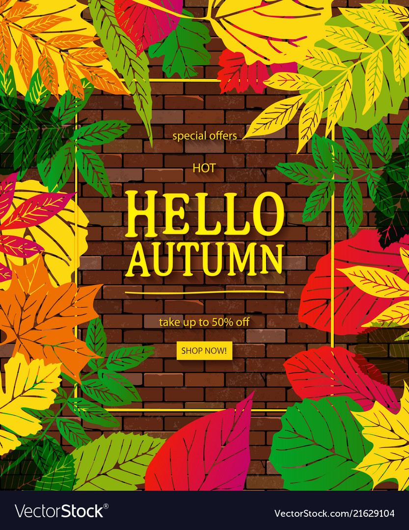 Autumn sale flyer template with lettering