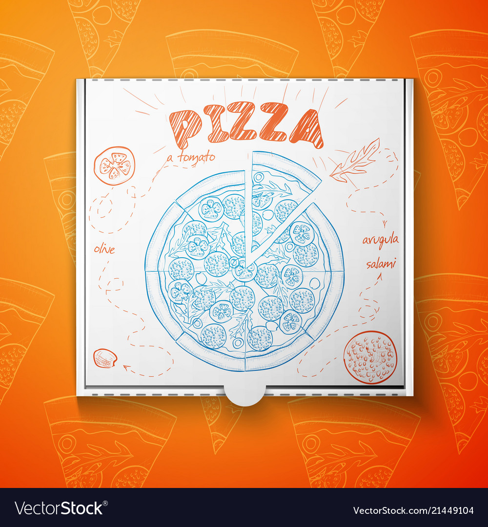 Cardboard box with pizza salami