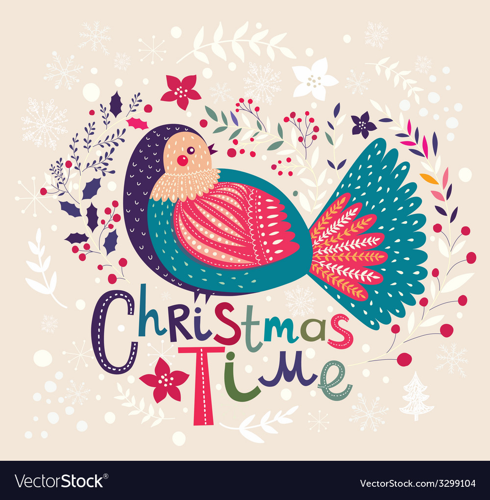 Christmas with festive bird