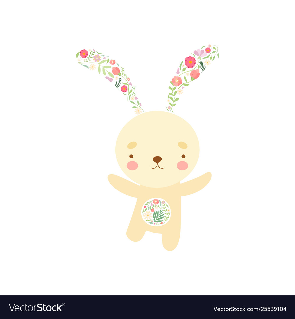 Cute bunny with ears and tummy made floral