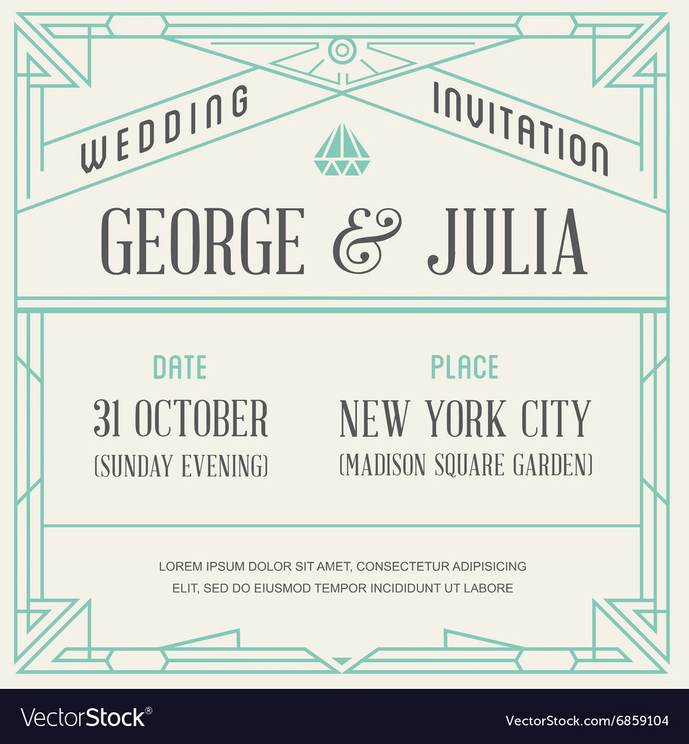 Gatsby style invitation in art deco or nouveau vector image stopboris Image collections