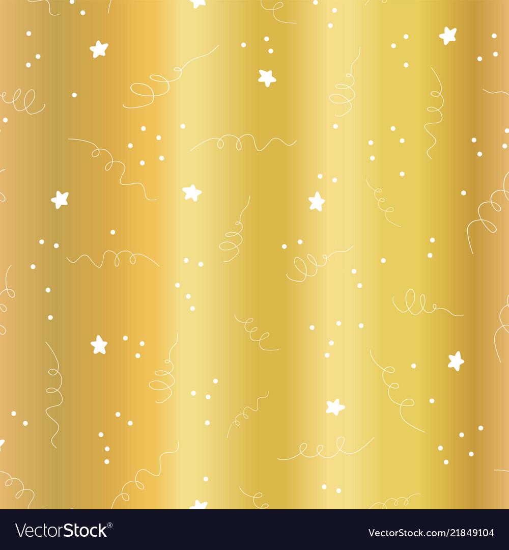 Gold foil star confetti curls pattern