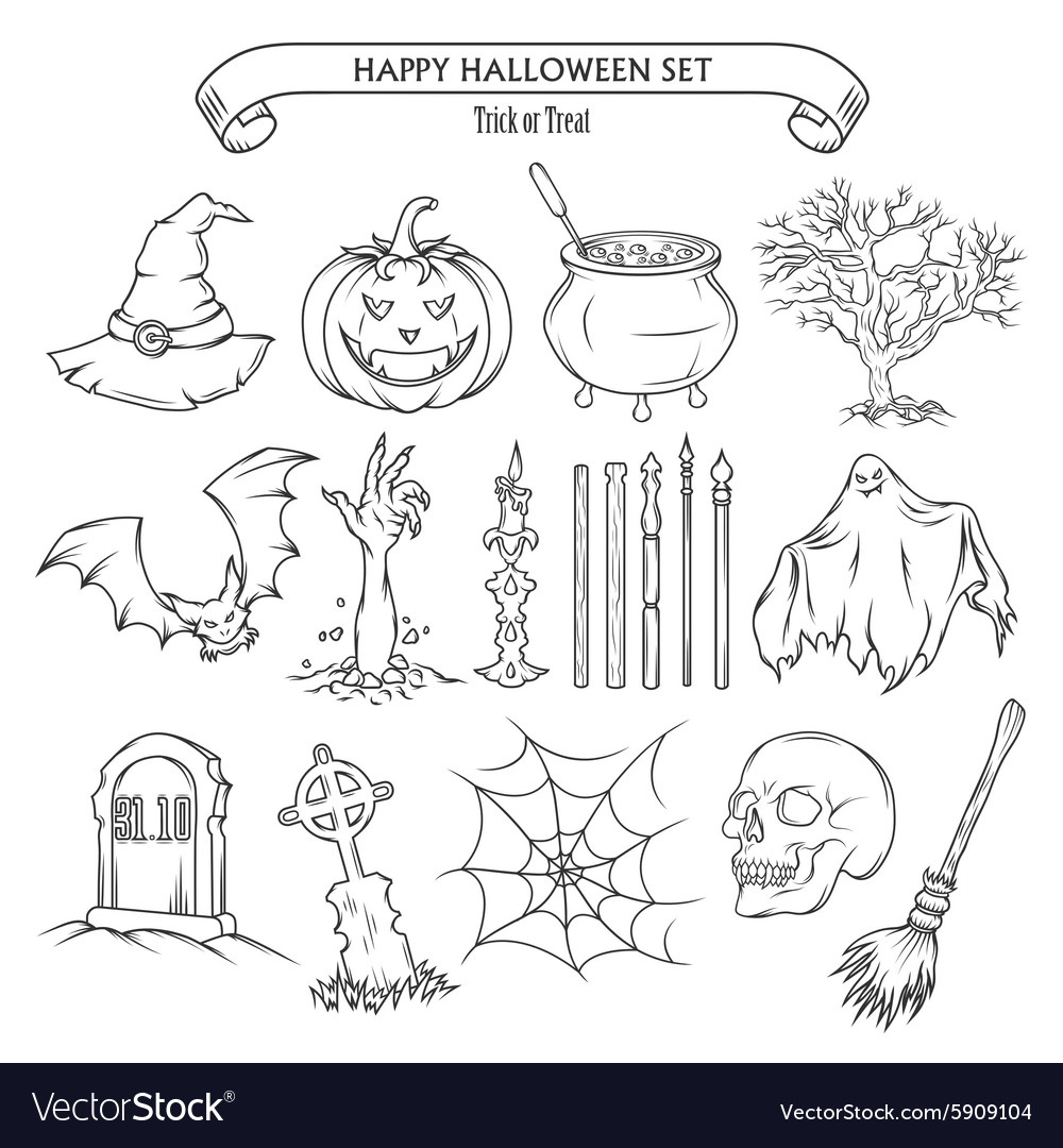 Halloween set of design elements