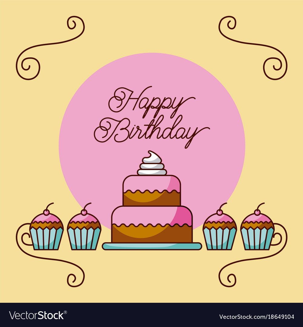 Amazing Happy Birthday Cake And Cupcakes Dessert Bakery Vector Image Personalised Birthday Cards Rectzonderlifede