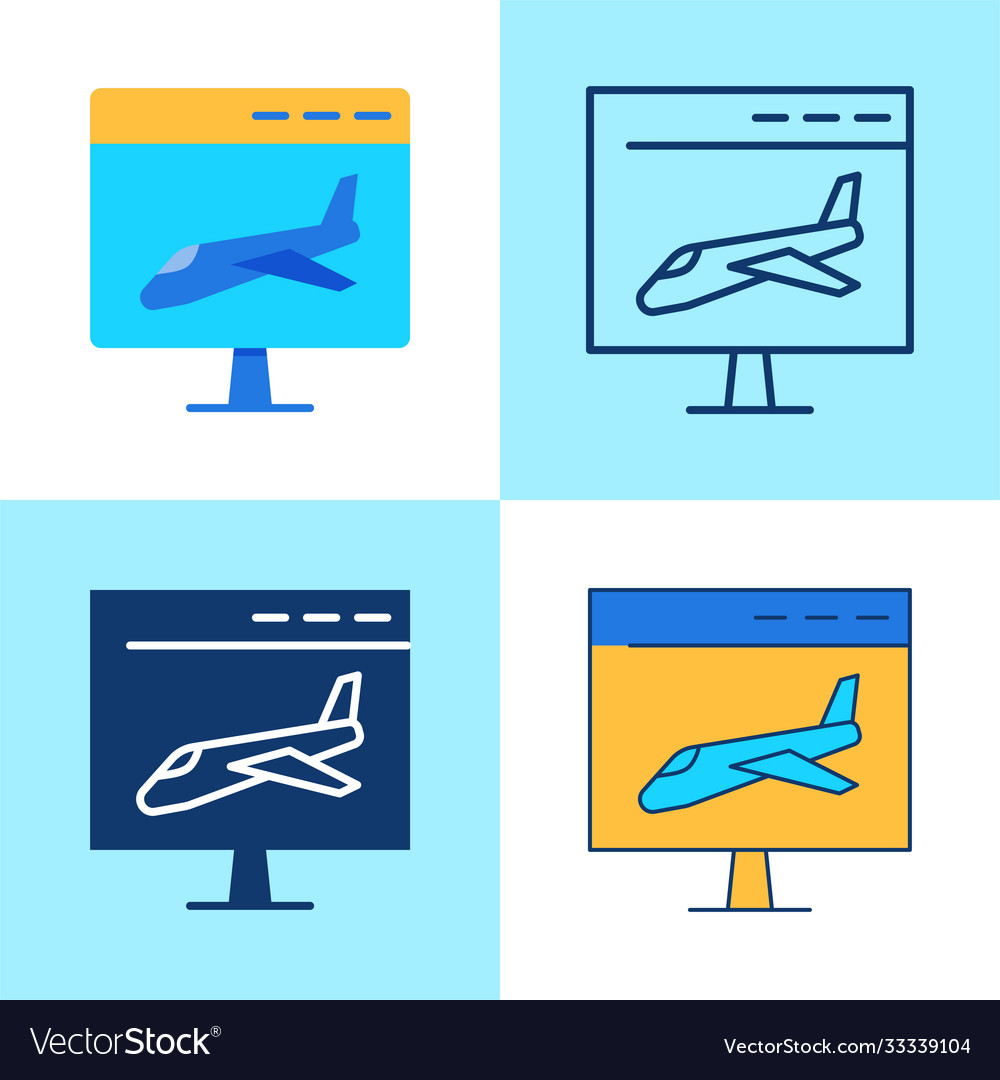 Landing page icon set in flat and line style