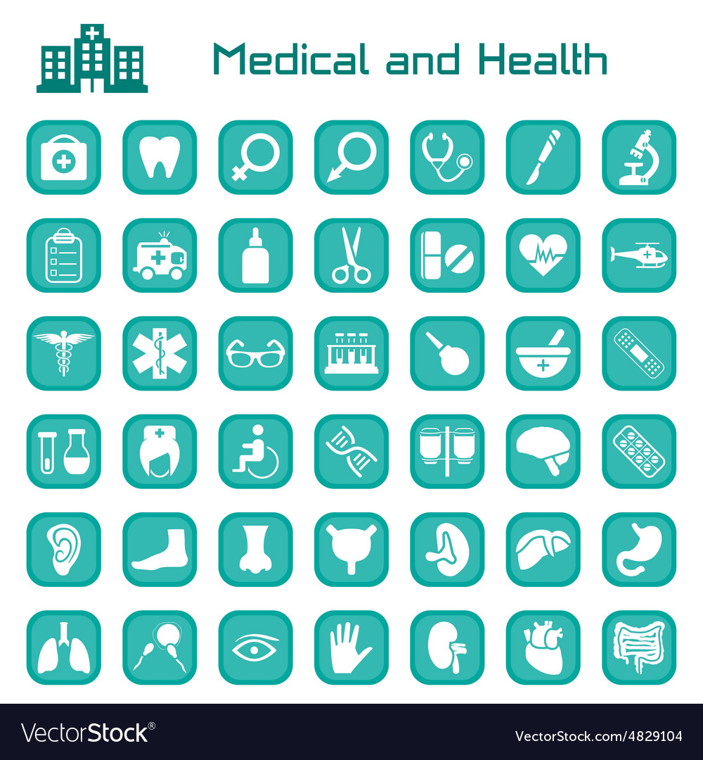 Medical and health big icon set