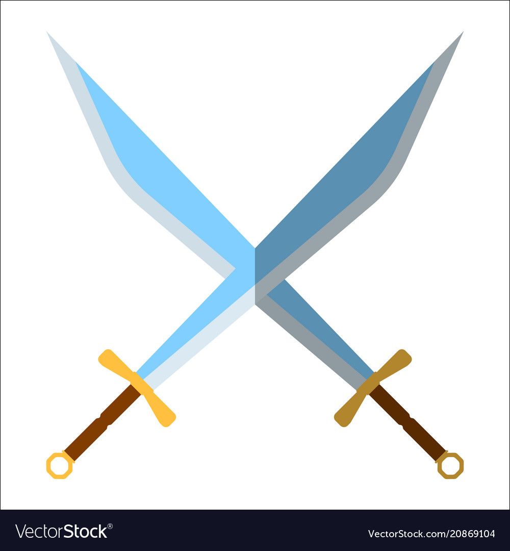 Medieval sword icon and label flat style logo