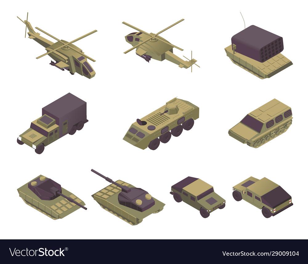 Military vehicles isometric