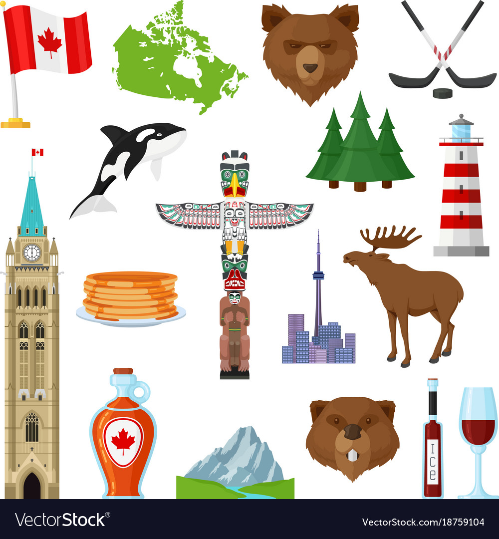 National Symbols Of Canada Set Royalty Free Vector Image