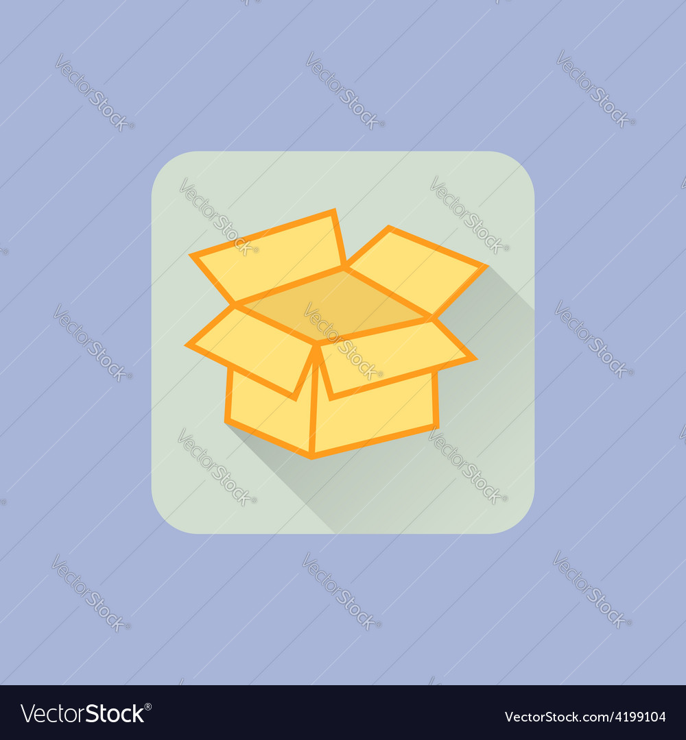 Open Box icon Flat design with long shadow On vector image
