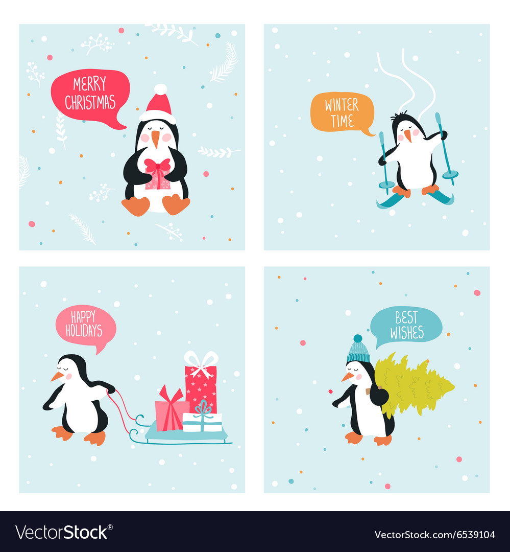 Penguin Christmas Cards Royalty Free Vector Image