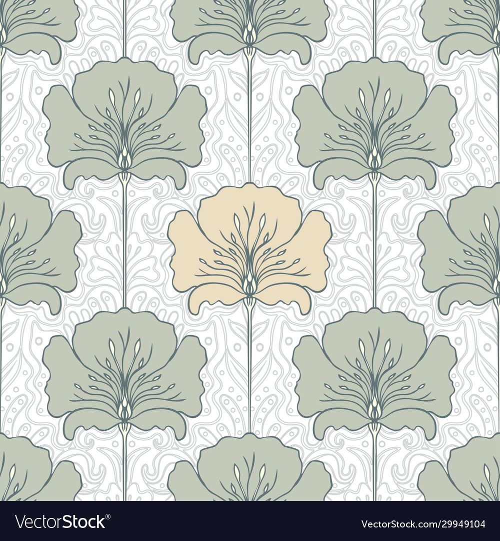 Vintage seamless pattern with pink flowers art