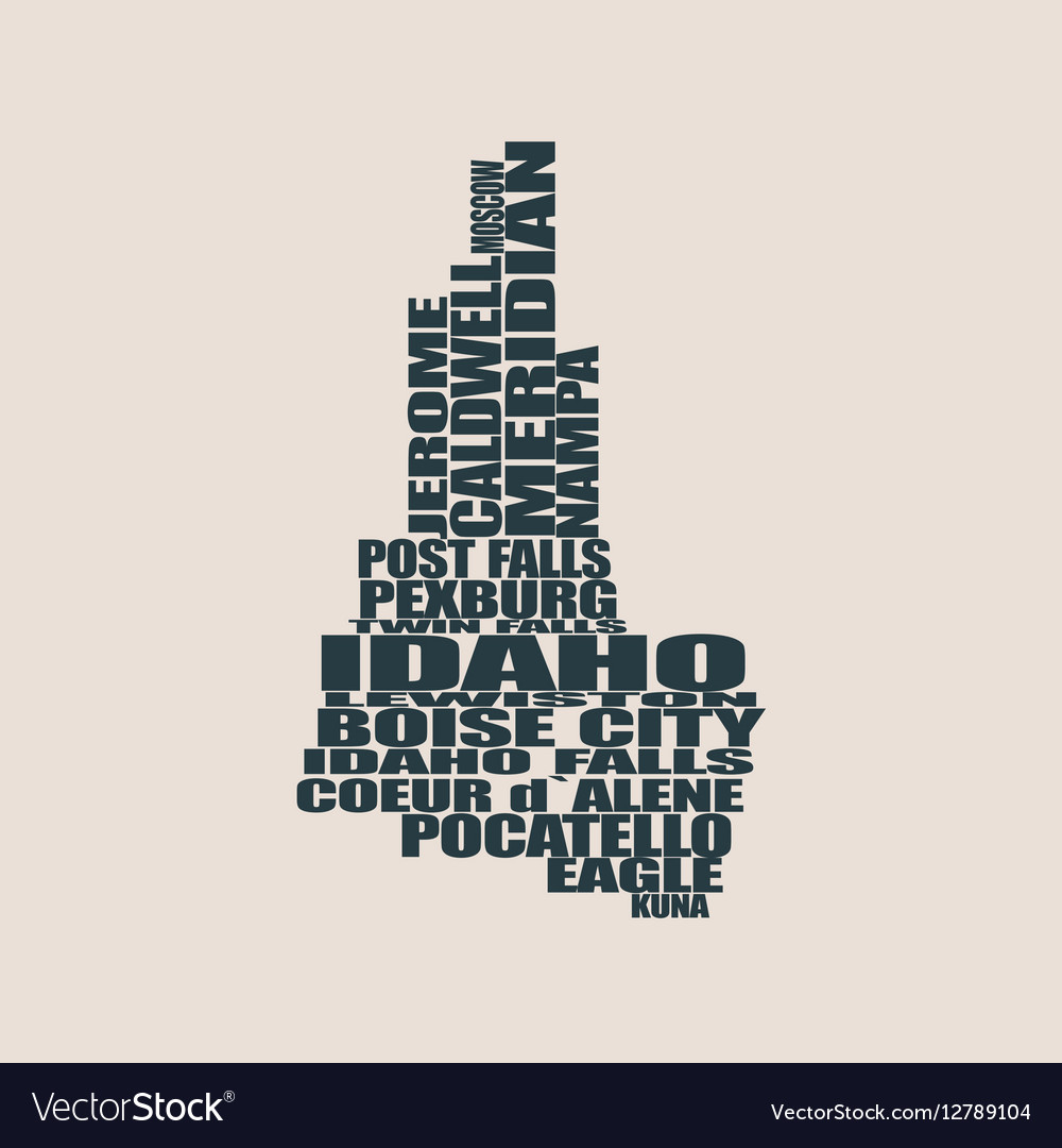 Word cloud map of Idaho state Royalty Free Vector Image