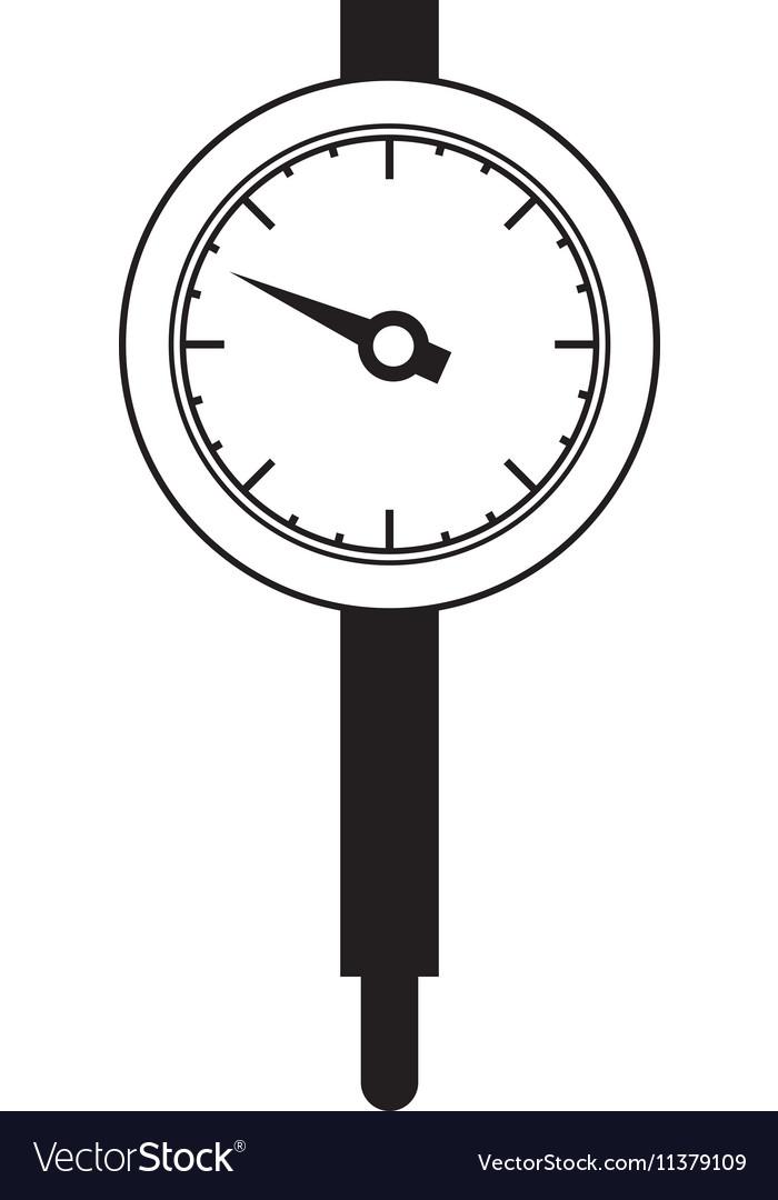 Black silhouette micrometer with gauge needle