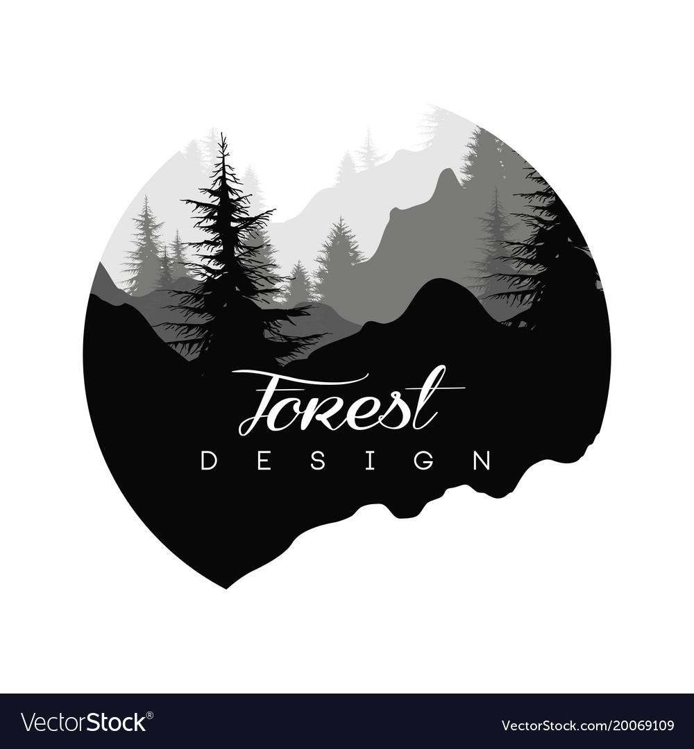 forest logo design nature landscape with vector image