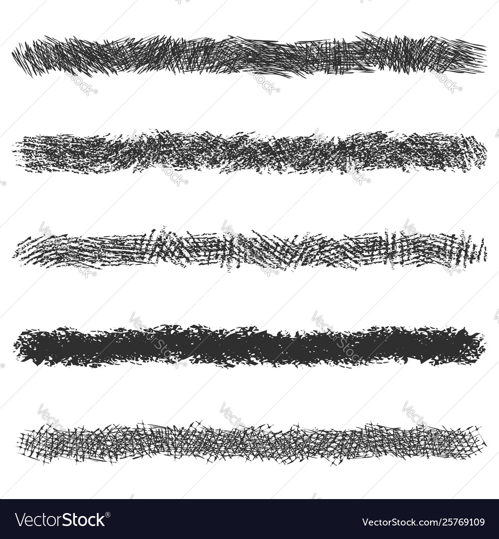 Hatching pencil stroke lines set black pen