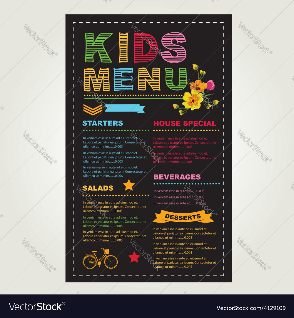 kids menu template royalty free vector image vectorstock