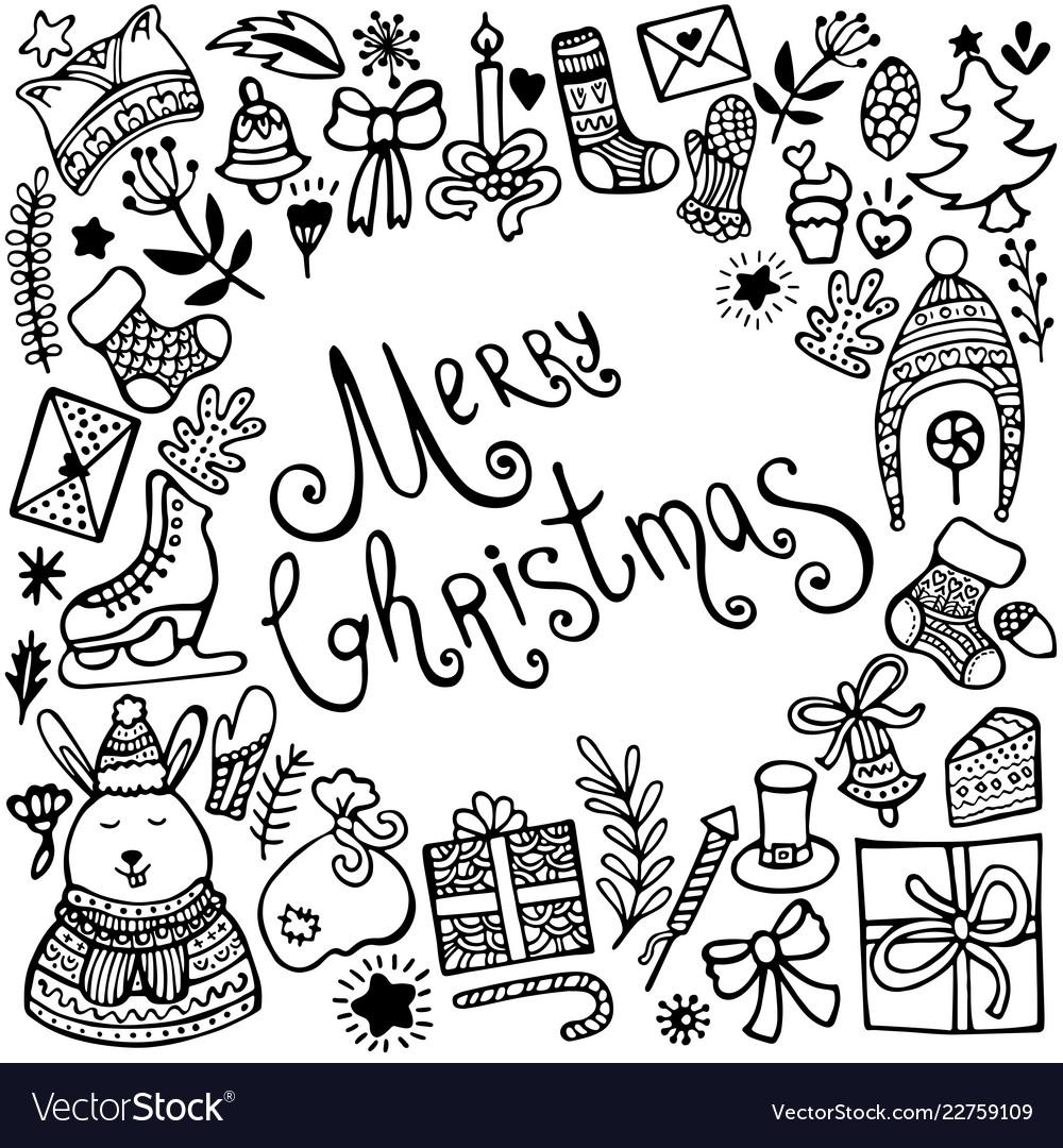 Set cute hand-drawn christmas elements